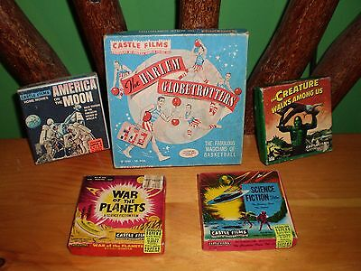 Lot of 5 8mm Boxed Films -Harlem Globetrotters-America on Moon-Creature - SCIFI