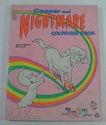 Vtg Casper The Ghost And Nightmare Coloring Book Artcraft Saalfield (1964) Used