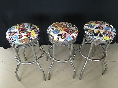 3 Bar Stools chrome with 50s Style Scooter Print Seat Covers.