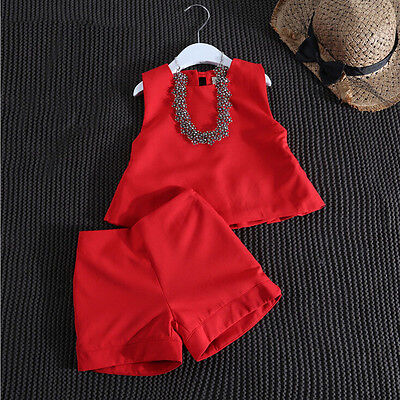 Toddler Baby Kids Girls Summer Vest T-shirt Tops+Short Pants Clothes Set Outfits