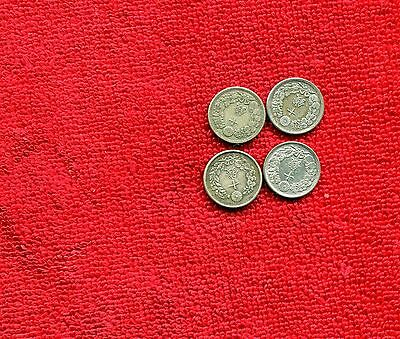 Japan Lot Of 4 Old Silver Coins F To Vf Nr 9.25