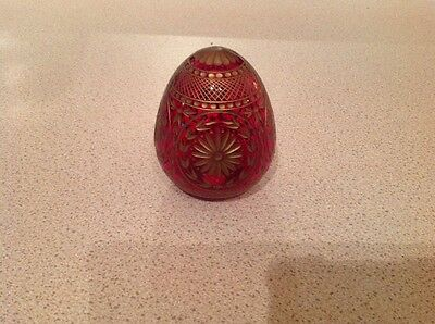 Russian Glass Egg Red And Gold St Petersburg Hand Work