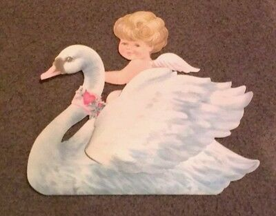 Vintage Stand Up Valentine fold down cut-out Culid on Swan