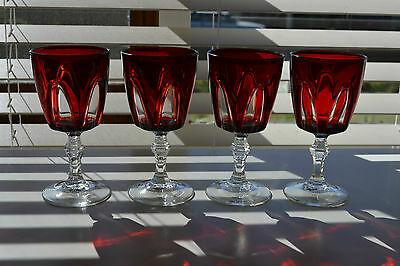 Cristal D'arques Vintage Gothic Arches 4 Wine Glasses Ruby Red Cut To Clear