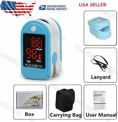 USA Seller! Sky Blue LED Fingertip Pulse oximeter Spo2 Monitor Blood Oxygen DL
