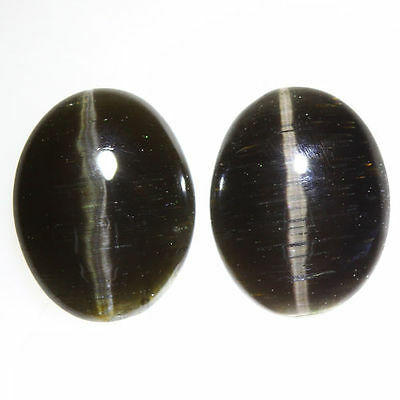 3.170 Ct VERY RARE FINE QUALITY 100% NATURAL SILLIMANITE CAT'S EYE INTENSE PAIR!