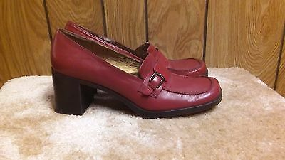 """Womens Red Leather Classic Nine West 2"""" Block Heel Pumps Size 8.5 M"""