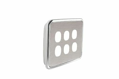 NEW Light Switch Cover - 6 Gang - Brushed Stainless Wall Plate Socket Outlet