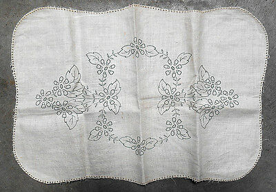 Floral design - vintage traced linen embroidery to do - table centre