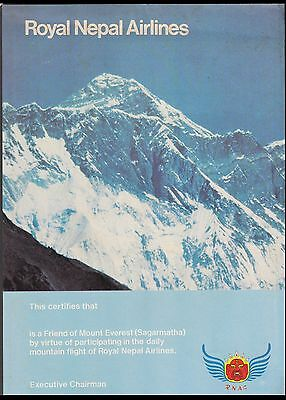 Royal Nepal Air Lines Certificate Depicts Mount Everest Himalaya