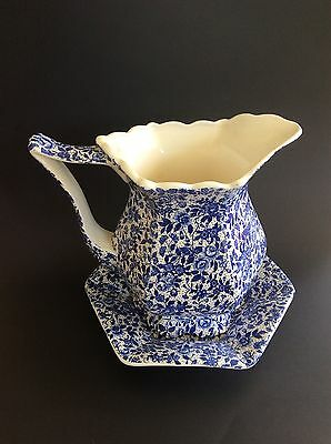 Decorative Water Jug And Saucer Blue And White Floral Pattern