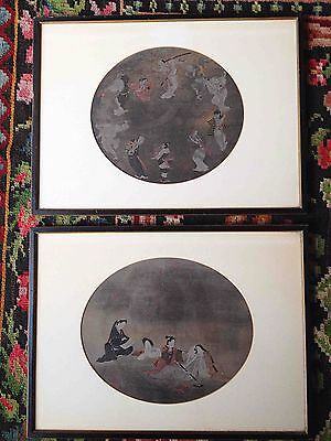 2 Japanese Paintings Original Antique Vintage On Silk Detailed