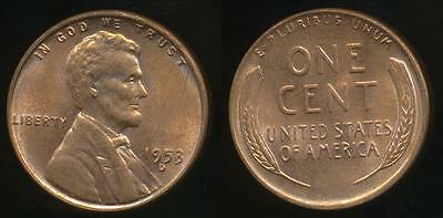United States, 1953-D One Cent, Lincoln Wheat - almost Uncirculated