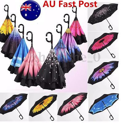 Automatic Double Layer Reverse Design Upside Down Inverted Umbrella C-handle AU