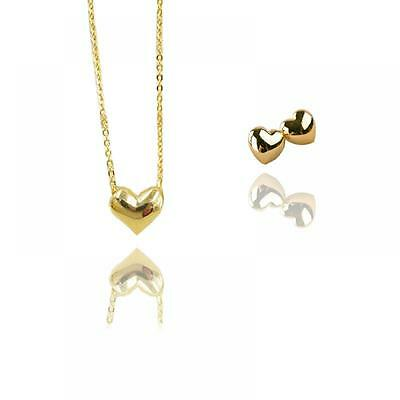 Tiny Fashion Short Love Heart Jewelry Sets Earring Necklace Pendant