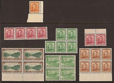 New Zealand Blocks Of Mnh Stamps George Vi 1938 - 1946