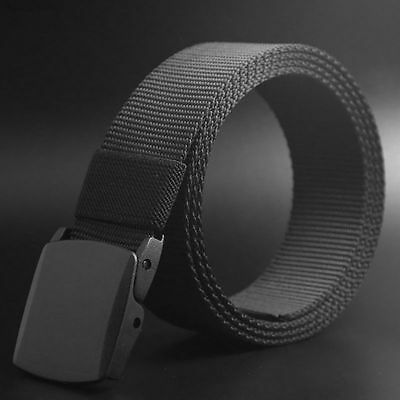 Men Adjustable Nylon Slider Buckle Military Style Long Weave Canvas Web Belt