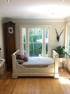 French Bed Mahogany King Single Sleigh Carved Bed with New Mattress & Slats
