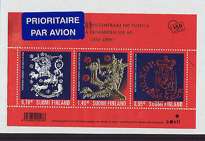 Finland 2006 Used - Stamp Jubilee - Gold folio - miniature sheet of 3 stamps