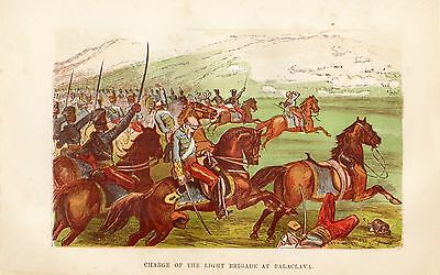 Antique Colour Print, Crimean War, Charge Of The Light Brigade 1854