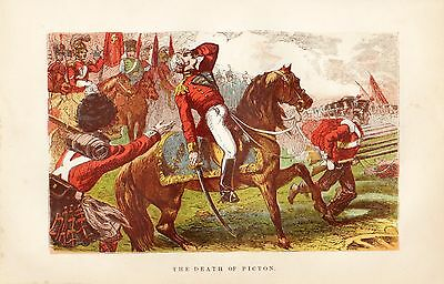 Antique Colour Print, The Battle Of Waterloo, Death Of Picton 1815