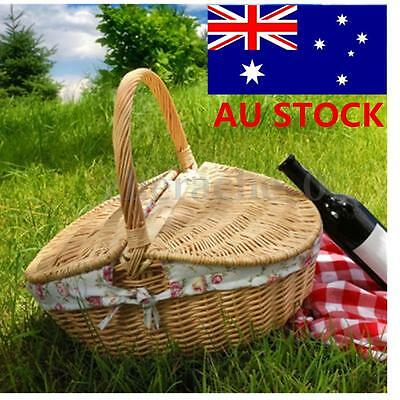 Travel Outdoor Wicker Hand Picnic Storage Handle Basket Shopping Hamper Camping