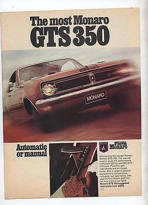 HT Holden Monaro Original Advertisement removed from a magazine a
