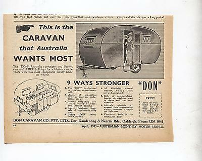 Don Caravan Original Advertisement removed from a 1953 Magazine a