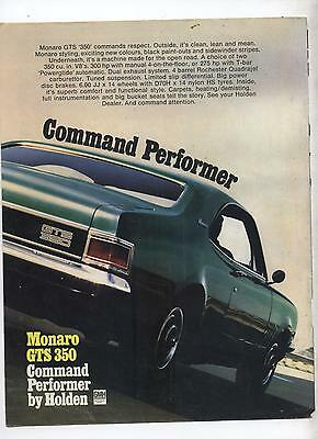 HG Holden Monaro Original Advertisement removed from a magazine a