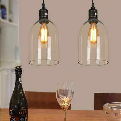 Big Clear Glass Lampshade Vintage Retro Ceiling Chandelier Pendant Light