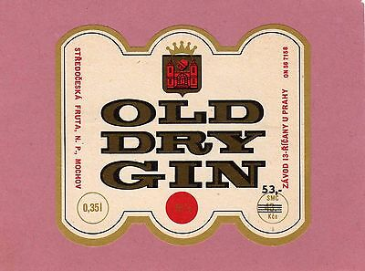 Old Dry Gin - label from Czechoslovakia - see scan