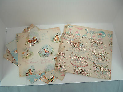 Vintage 1950s -1960s  new baby, shower gift wrap paper lot  cut and uncut