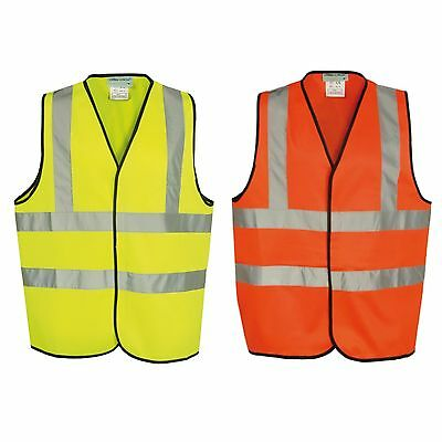 Hi Viz Vest High Vis Safety Waistcoat Yellow Orange EN471 Visibility Jacket