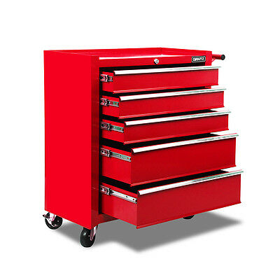 5 Drawers Toolbox Chest Cabinet Tool Box Roller Trolley Red