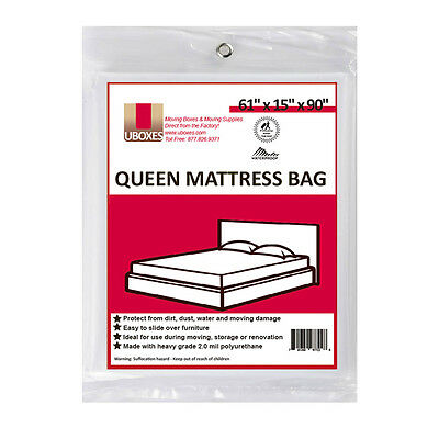 "12 Queen Mattress Bags 61""x15""x90"" Poly Bags Protective Moving Storage"