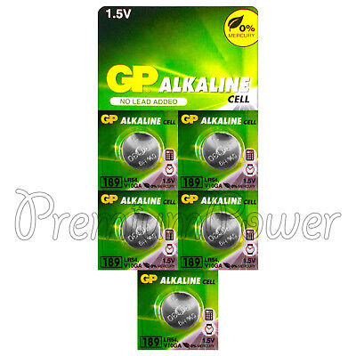 5 x GP Alkaline 189 batteries 1.5V LR54 AG10 389A LR1130 A120 Button cell EX2019