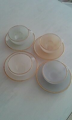 Set 4 French Arcopal Harlequin coffee / tea  Cups & Saucers,