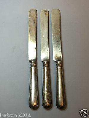 Antique Russian Silver Plated 3 Knives Set