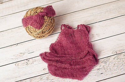 Newborn Mauve Knitted Mohair Romper and Headband Set Photography Prop Baby Pink