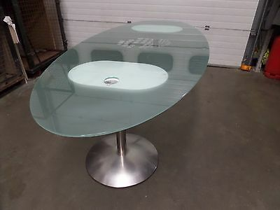 Frosted Glass Oval Boardroom Office Meeting Room Table with Chrome Legs