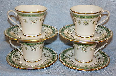 "Gorham Printemps Museum Collection (4) Cups, 3 1/8"" & (4) Saucers, 6 1/8"" =4 SET"