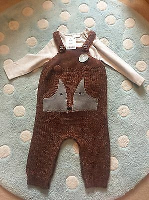 Bnwt Next Ginger Fox Dungarees 6-9 Months Baby Boy
