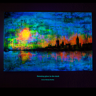 Abstract Painting Landscape Glow in dark UV Fluorescent Original Acrylic large