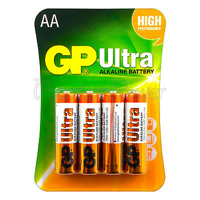 4 x GP Alkaline Ultra AA batteries 1.5V LR6 MN1500 MIGNON EXP:2023 Pack of 4