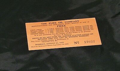 vintage PURE OIL advertising card 1931