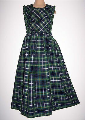 Laura Ashley Vintage Mother&child Label Tartan Plaid Pinafore-Dress 9Years