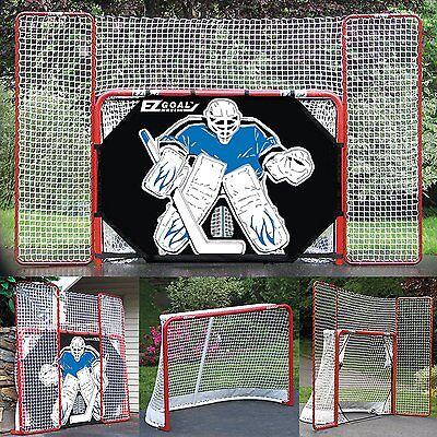 EZGoal Hockey Folding Goal with Backstop, Shooter Tutor and Targets, 2-Inch,