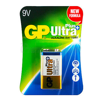 1 x GP Alkaline Ultra Plus 9V battery 6LP3146 PP3 LR22 MN1604 6LR61 Block EX2021