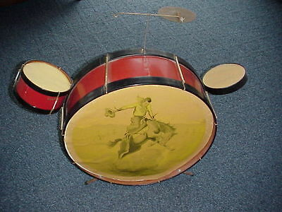 Vintage Toy Child's  Western Cowboy Horse Drum Set Nice!!