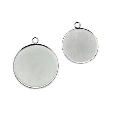 10 x Round Stainless Steel Bottle Cap Cabochon Pendant Settings 25mm / 30mm
